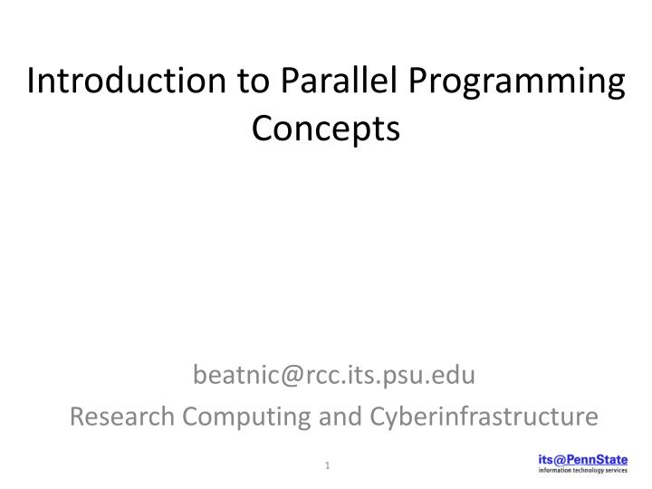 introduction to parallel programming concepts n.