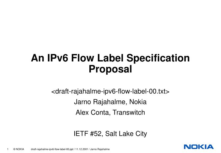 an ipv6 flow label specification proposal n.