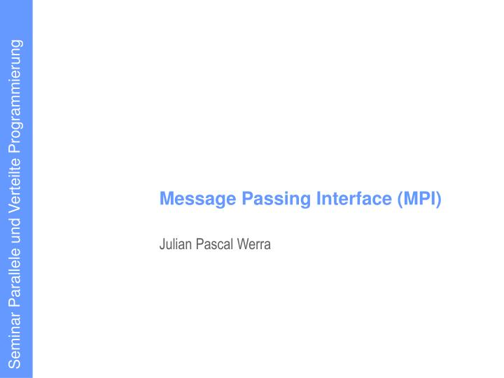 message passing interface mpi n.