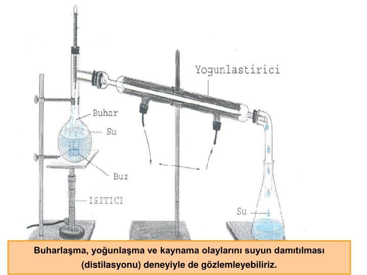 Buharlaşma, yoğunlaşma ve kaynama olaylarını suyun damıtılması    (distilasyonu) deneyiyle de gözlemleyebiliriz.