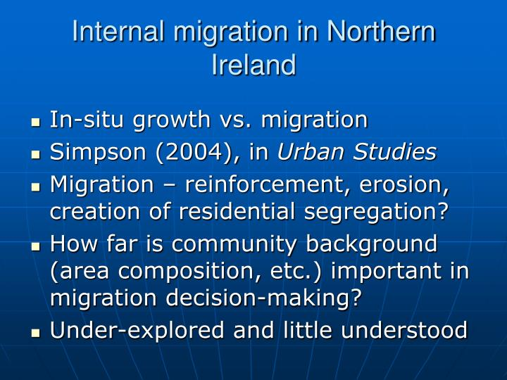 Internal migration in northern ireland