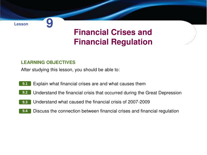 financial crises and financial regulation n.
