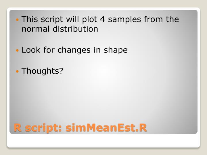 This script will plot 4 samples from the normal distribution