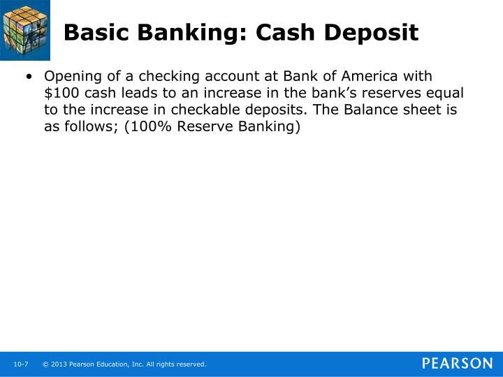 Basic Banking: Cash Deposit