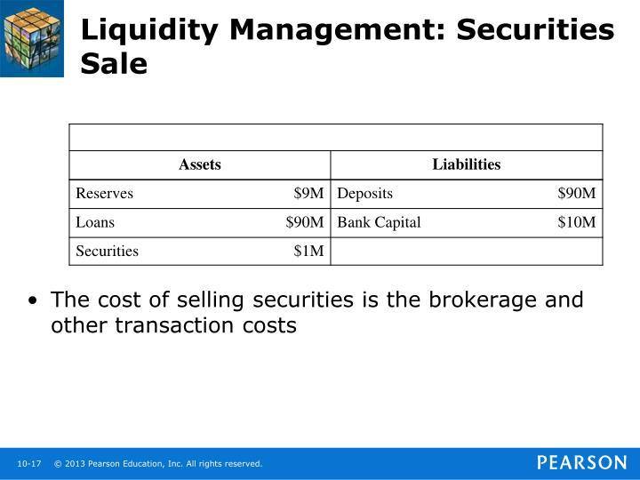 Liquidity Management: Securities Sale