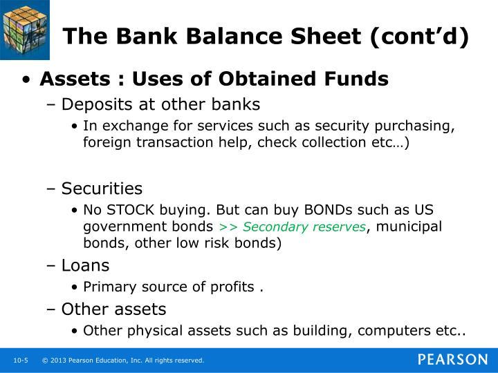 The Bank Balance Sheet (cont'd)
