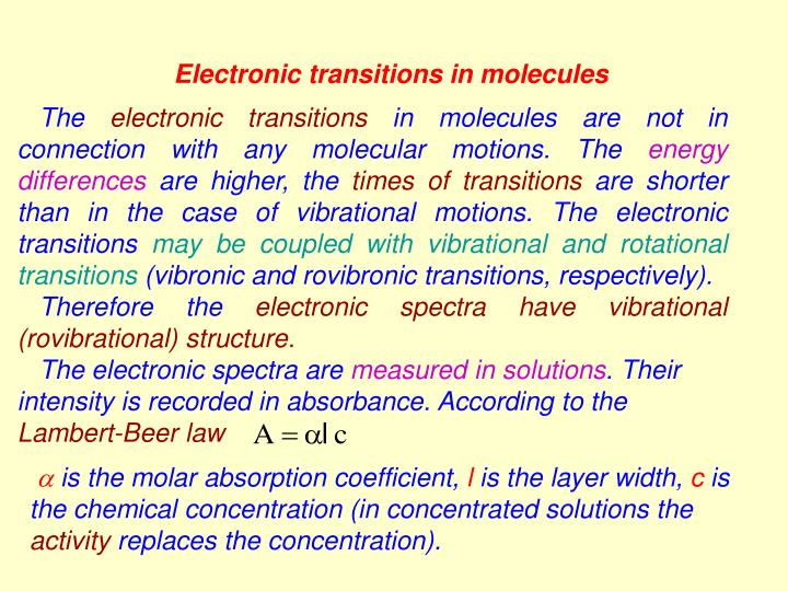 Electronic transitions in molecules