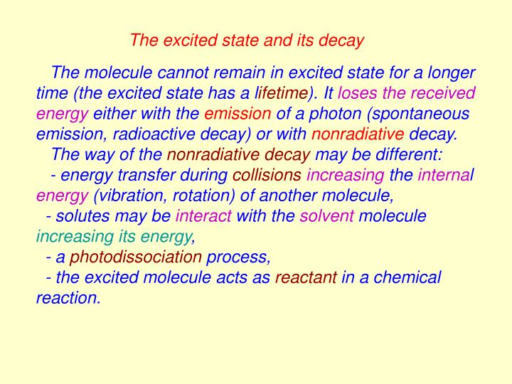 The excited state and its decay