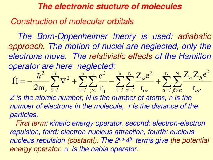 The electronic stucture of molecules