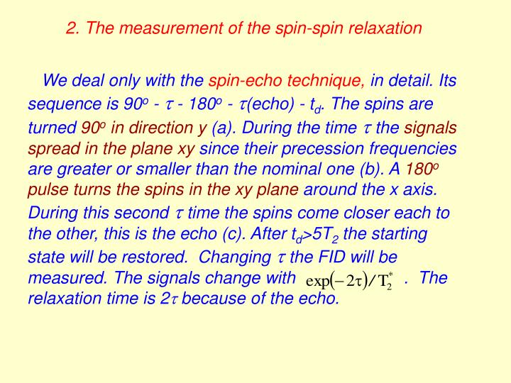 2. The measurement of the spin-spin relaxation