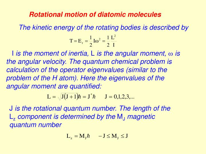 Rotational motion of diatomic molecules