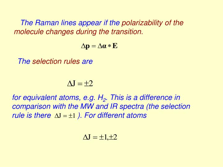 The Raman lines appear if the