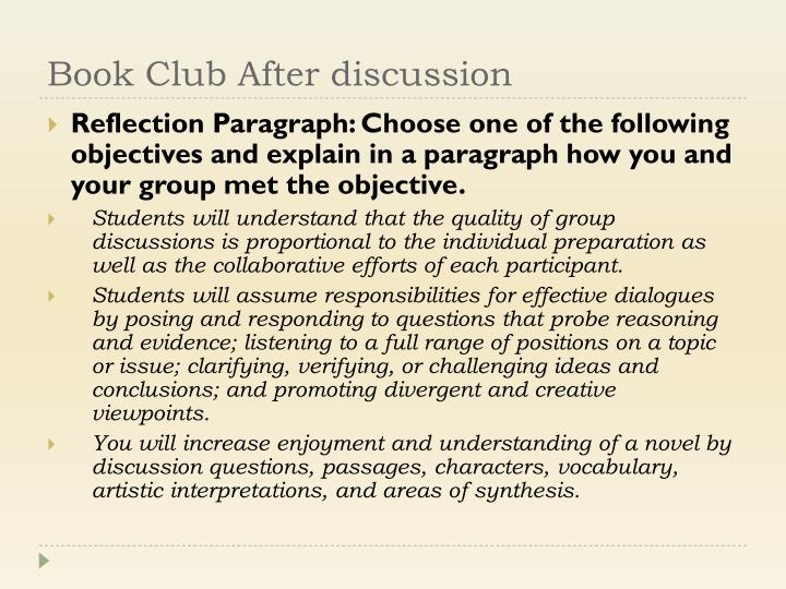 Book Club After discussion