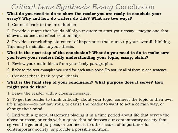 Critical Lens Synthesis Essay