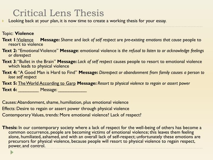 Critical Lens Thesis