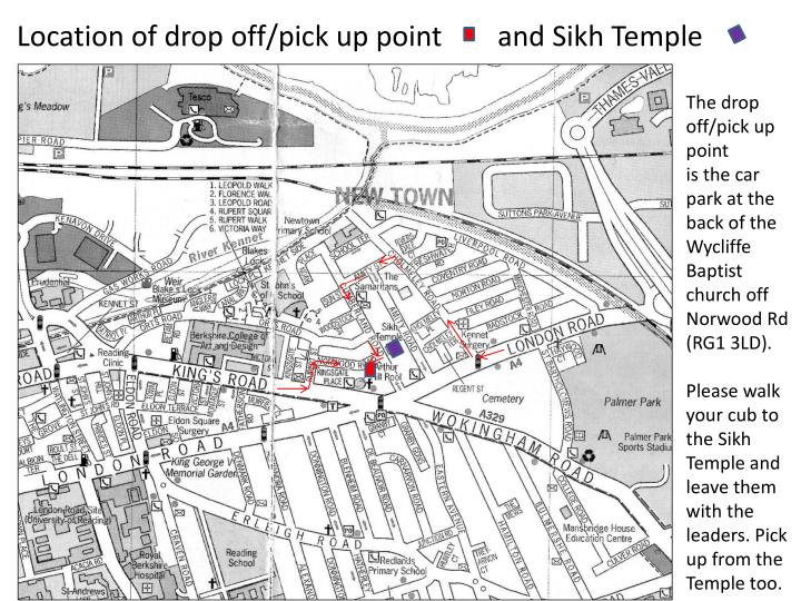 location of drop off pick up point and sikh temple n.