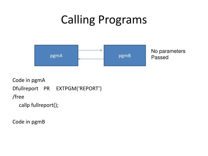 Calling Programs