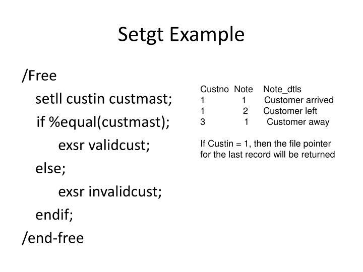 Setgt Example
