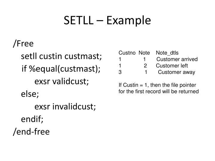 SETLL – Example