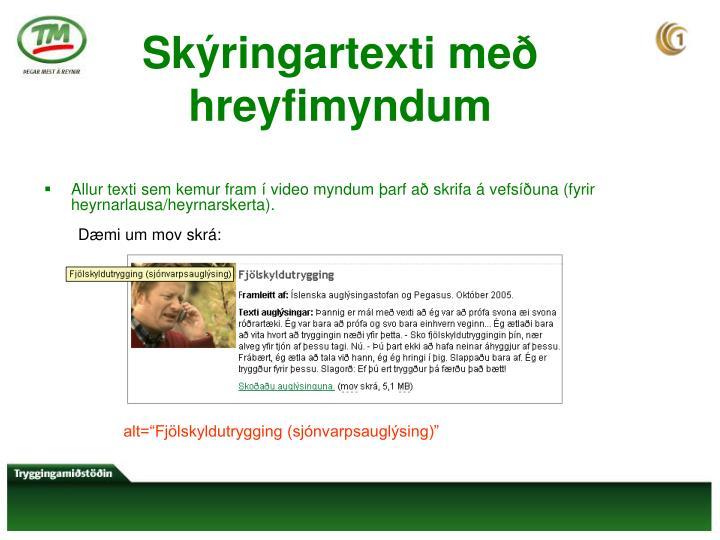 Skýringartexti með hreyfimyndum