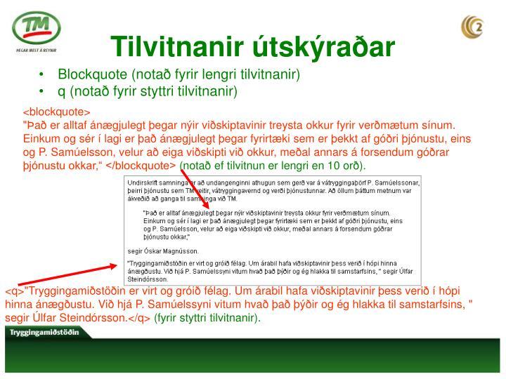 Tilvitnanir útskýraðar