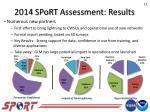 2014 sport assessment results