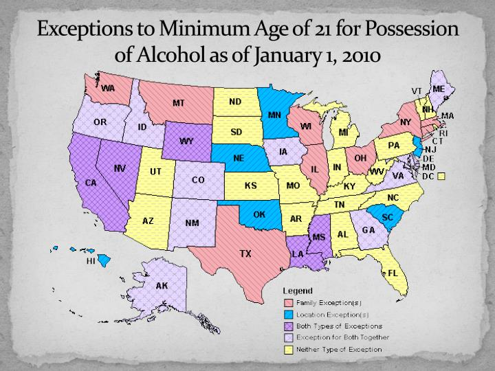 Exceptions to Minimum Age of 21 for Possession of Alcohol as of January 1, 2010