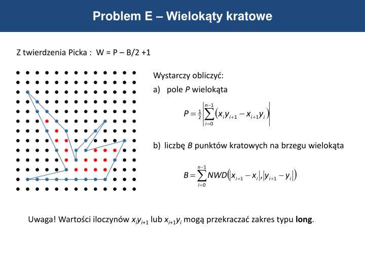 Problem E – Wielokąty