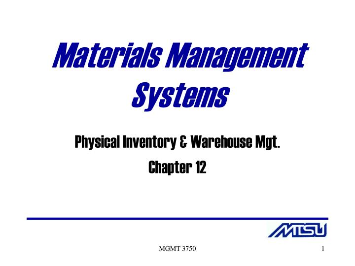 materials management systems n.