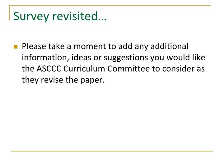 Survey revisited…