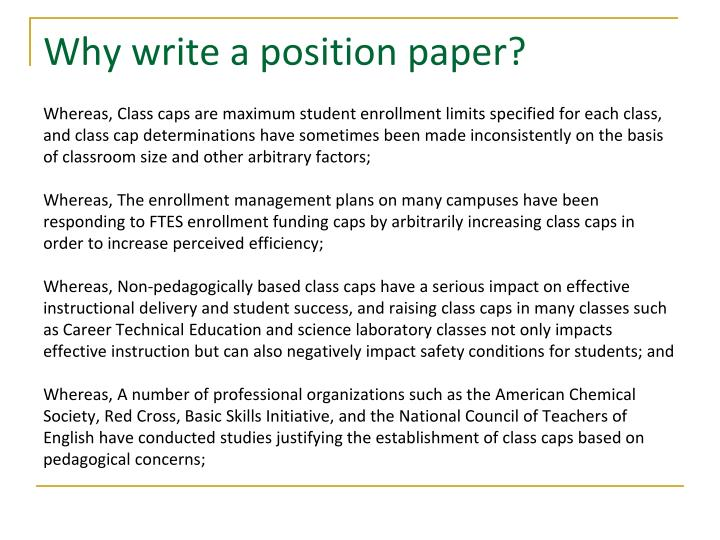 Why write a position paper