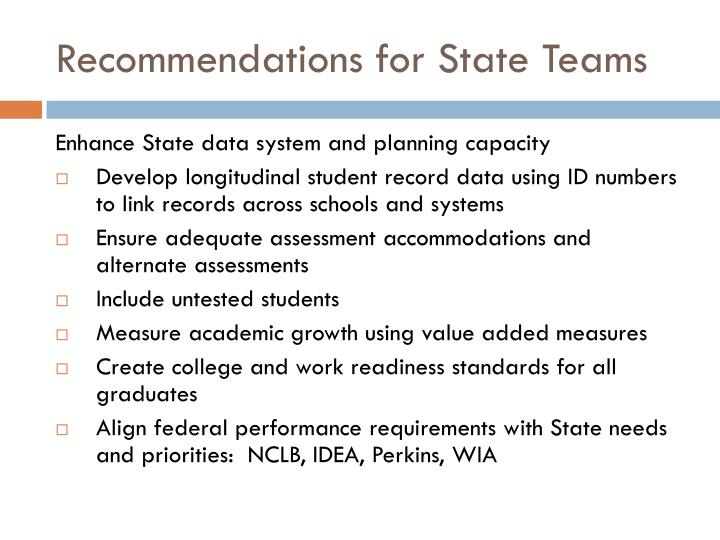 Recommendations for State Teams