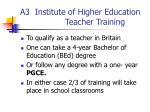 a3 institute of higher education teacher training