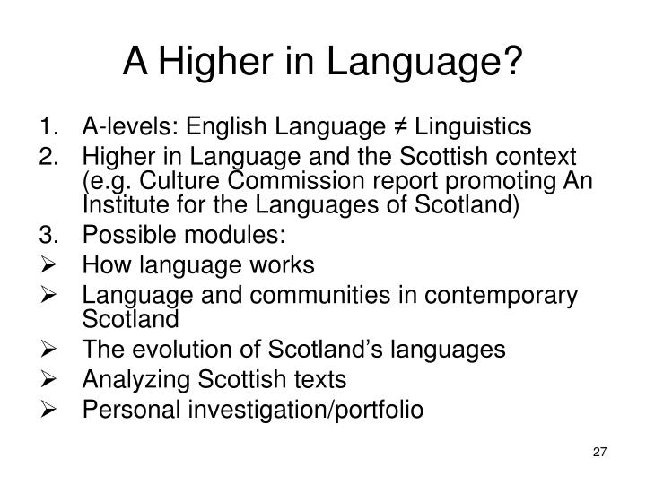 A Higher in Language?