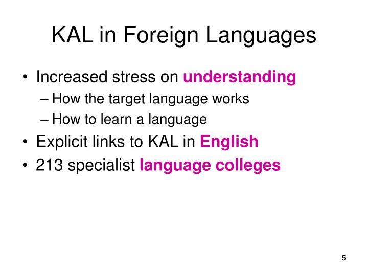 KAL in Foreign Languages