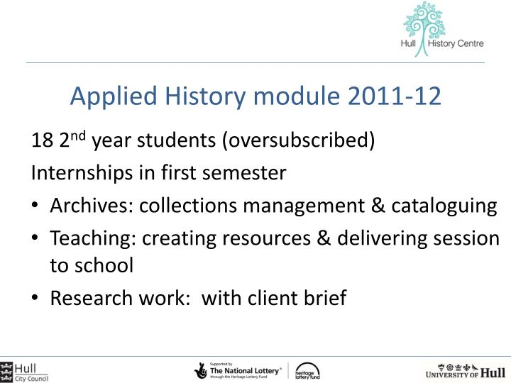 Applied History module 2011-12