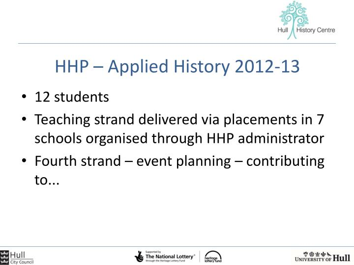 HHP – Applied History 2012-13
