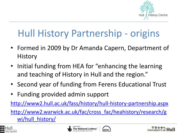 Hull History Partnership - origins