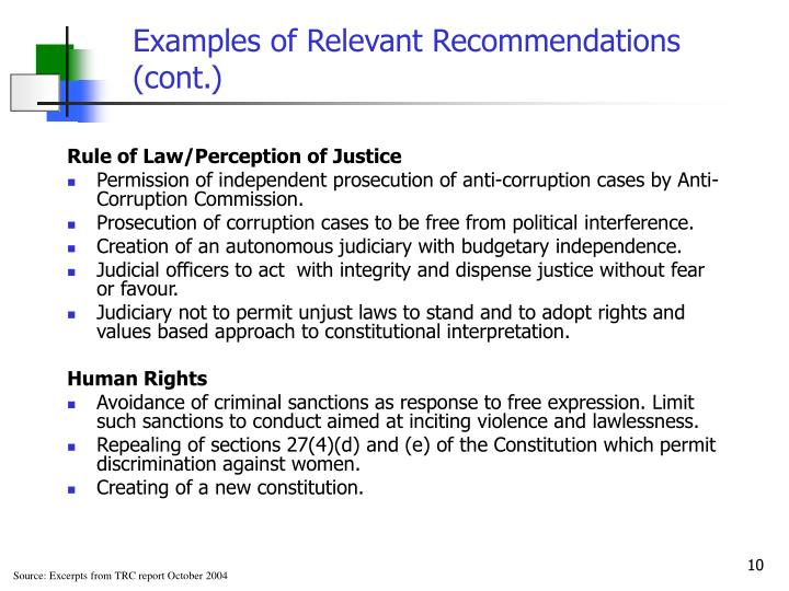 Examples of Relevant Recommendations (cont.)