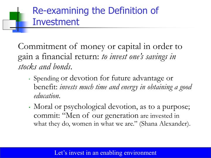 Re examining the definition of investment