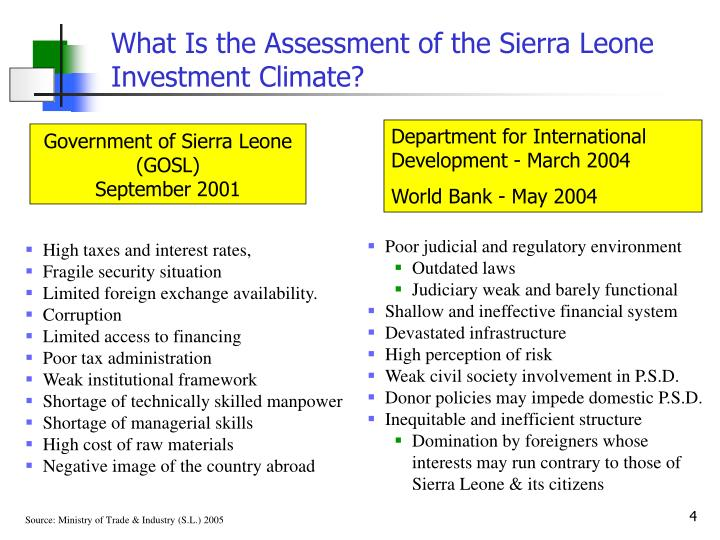 What Is the Assessment of the Sierra Leone Investment Climate?