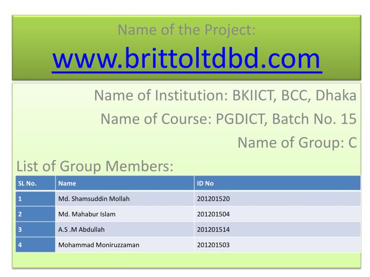 name of the project www brittoltdbd com n.