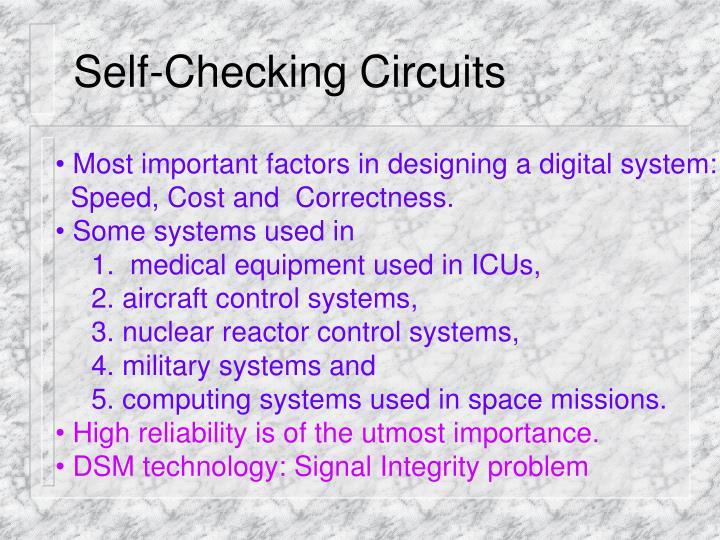 Self checking circuits