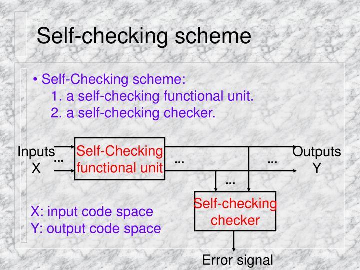 Self-checking scheme