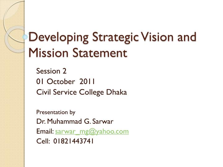 developing strategic vision and mission statement n.