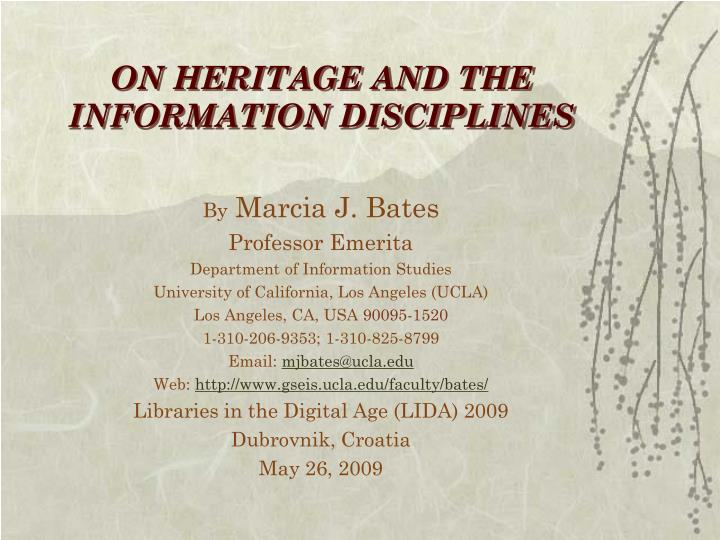 on heritage and the information disciplines n.