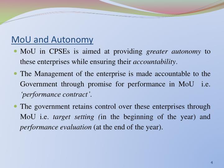MoU and Autonomy