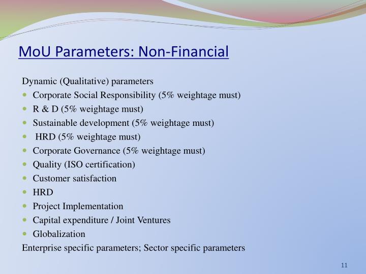 MoU Parameters: Non-Financial