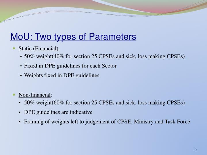 MoU: Two types of Parameters