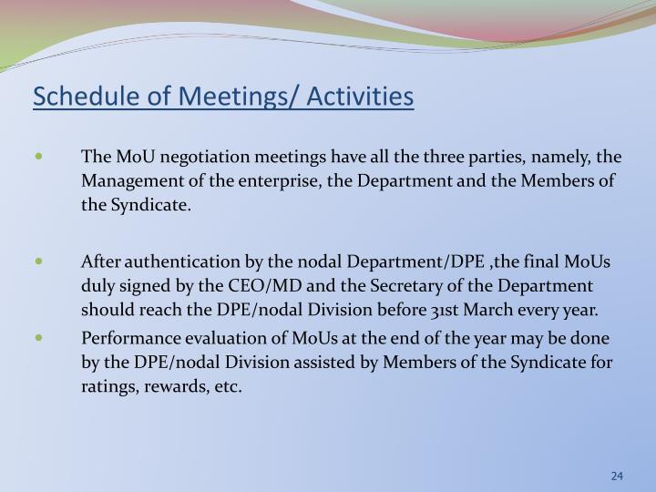 Schedule of Meetings/ Activities